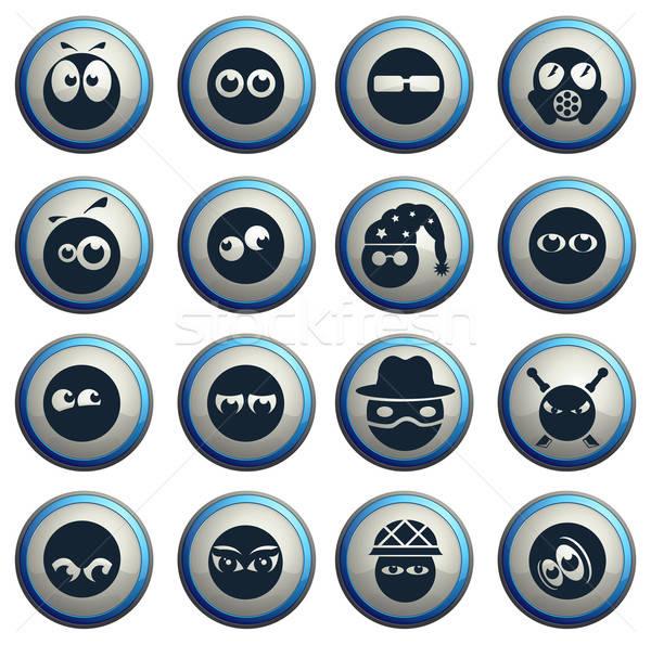 Emotions and glances icons set Stock photo © ayaxmr