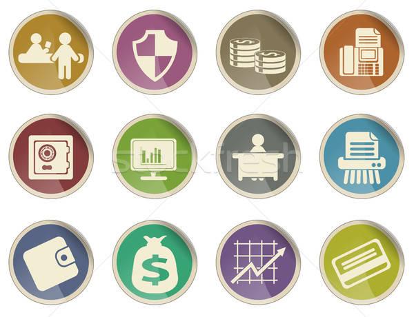 Finanzierung Symbole Label Web Benutzer Büro Stock foto © ayaxmr