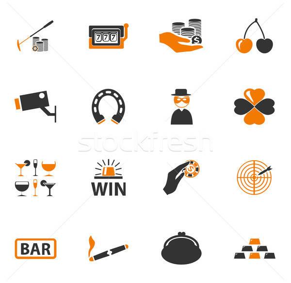 Casino icons set Stock photo © ayaxmr
