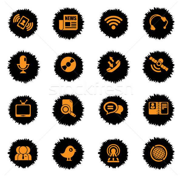 Kommunikáció ikon szett ikon háló felhasználó interfész Stock fotó © ayaxmr
