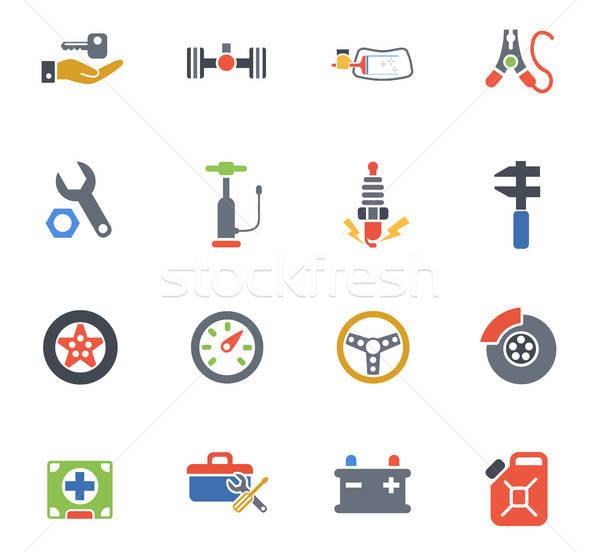 Autó bolt ikon gyűjtemény webes ikonok felhasználó interfész Stock fotó © ayaxmr
