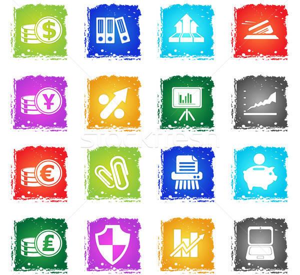 üzlet pénzügy webes ikonok grunge stílus felhasználó Stock fotó © ayaxmr
