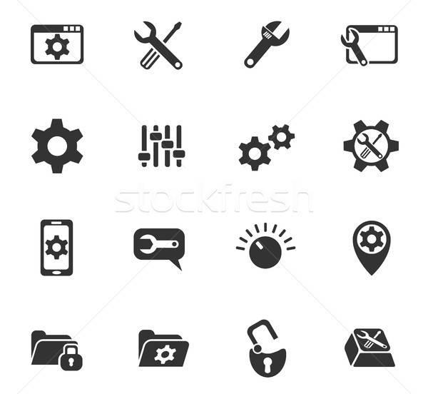 settings icon set Stock photo © ayaxmr
