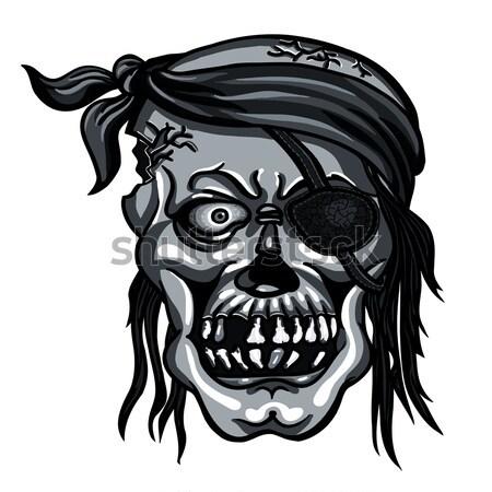 Danger pirate skull in red bandanna and crossbones Stock photo © ayaxmr