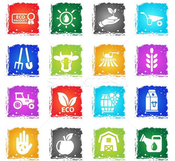 Agrícola os ícones do web grunge estilo usuário Foto stock © ayaxmr