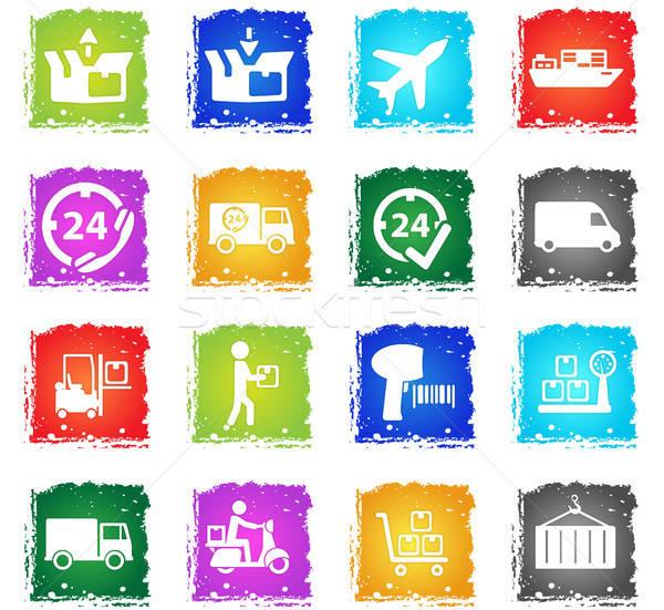 Entrega simplemente iconos símbolo grunge estilo Foto stock © ayaxmr