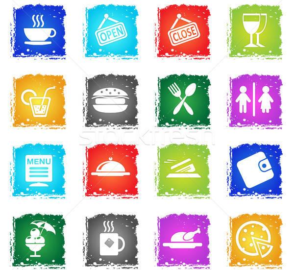 Kávézó sziluett ikonok egyszerűen szimbólum grunge Stock fotó © ayaxmr