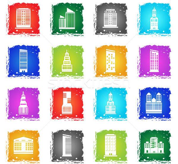 épületek ikon gyűjtemény webes ikonok grunge stílus felhasználó Stock fotó © ayaxmr