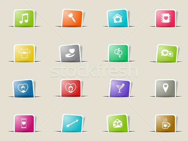 Stockfoto: Valentijnsdag · eenvoudig · iconen · vector · web · gebruiker