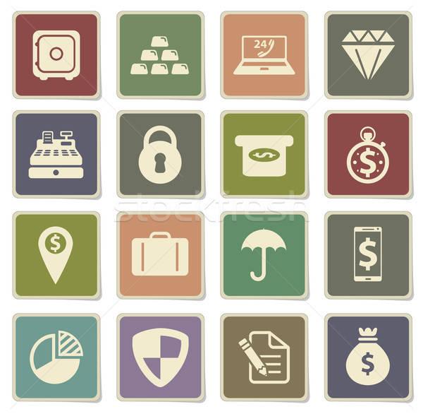 Pénzügy egyszerűen ikonok vektor háló felhasználó Stock fotó © ayaxmr