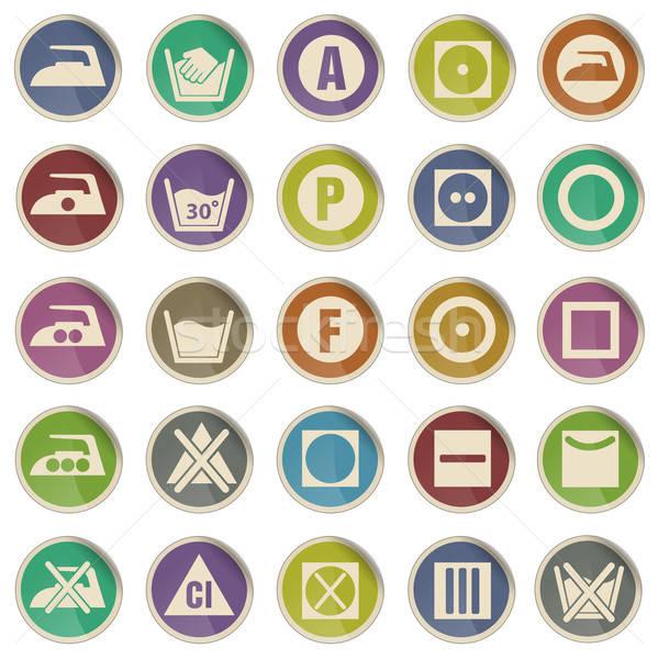 Lavanderia segno silhouette icone etichetta web Foto d'archivio © ayaxmr