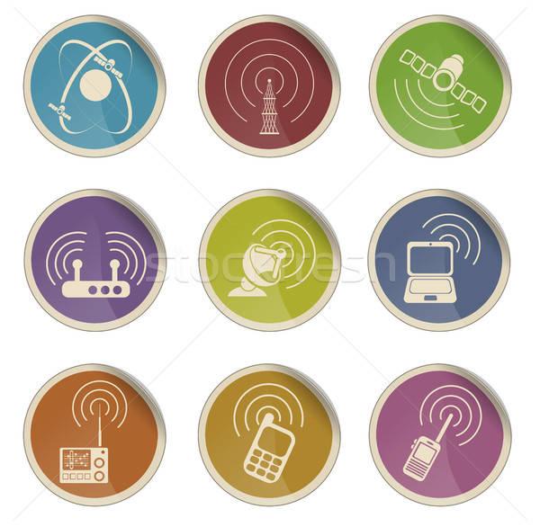 Radio signaal vector iconen label web Stockfoto © ayaxmr