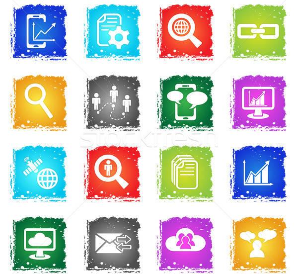 データ 分析的な 社会的ネットワーク webアイコン グランジ ストックフォト © ayaxmr