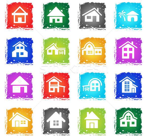 Casa tipo iconos de la web grunge estilo Foto stock © ayaxmr