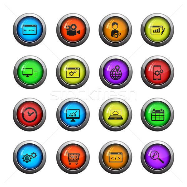 ストックフォト: Seo · 開発 · 単に · アイコン · ウェブ