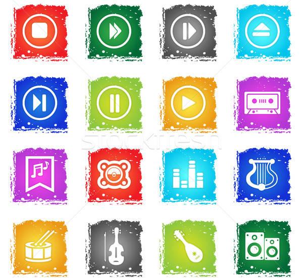 音楽 ベクトル webアイコン グランジ スタイル ストックフォト © ayaxmr