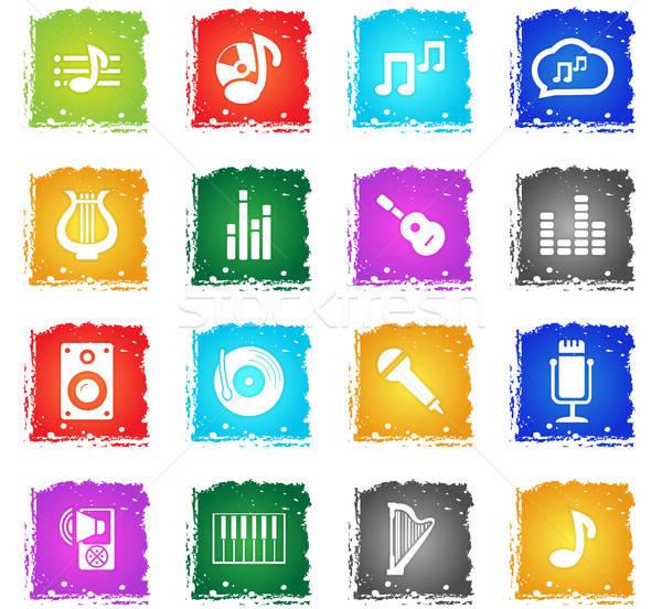 Música vetor os ícones do web grunge estilo Foto stock © ayaxmr