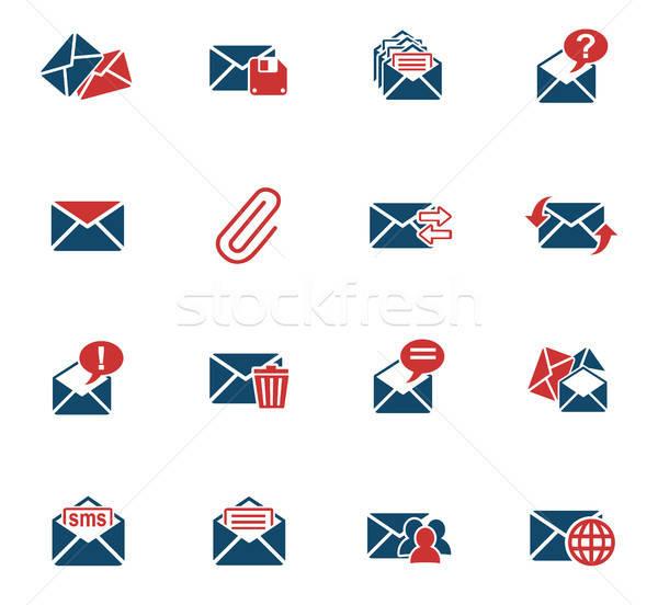 mail and envelope icon set Stock photo © ayaxmr