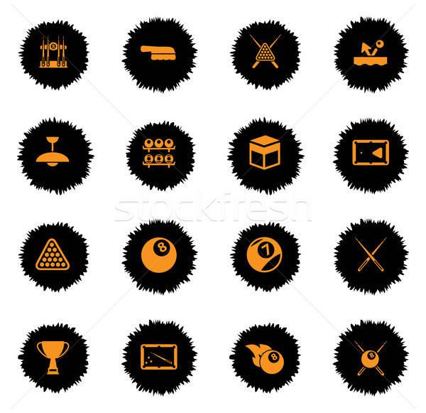 Biliárd egyszerűen ikonok vektor háló felhasználó Stock fotó © ayaxmr