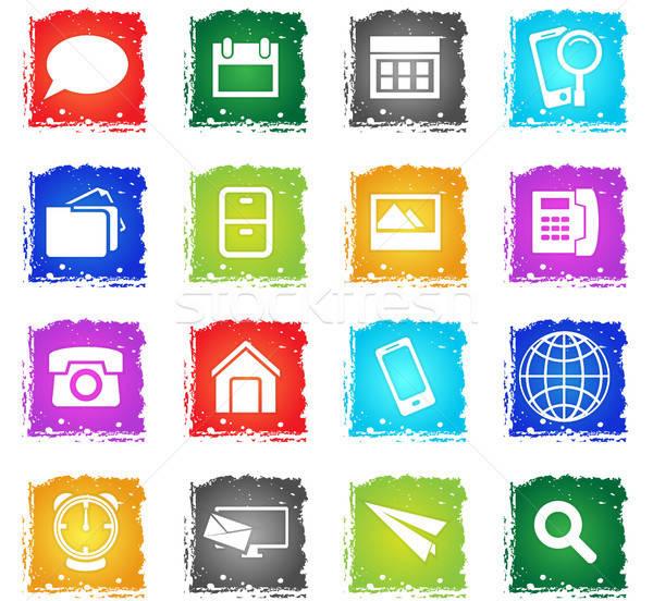 Web icons grunge stijl gebruiker interface Stockfoto © ayaxmr