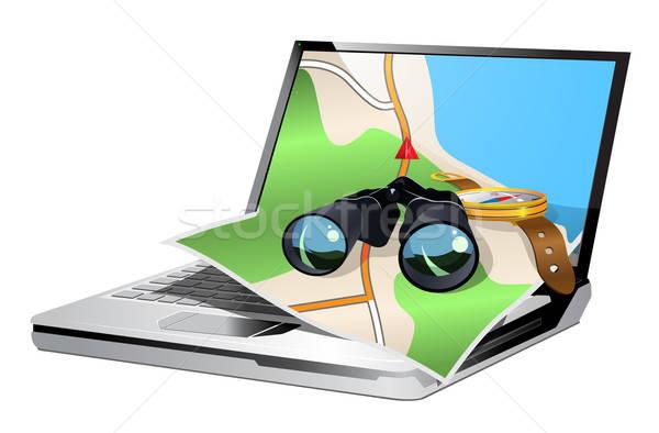 Stockfoto: Illustratie · gps · navigatie · laptop