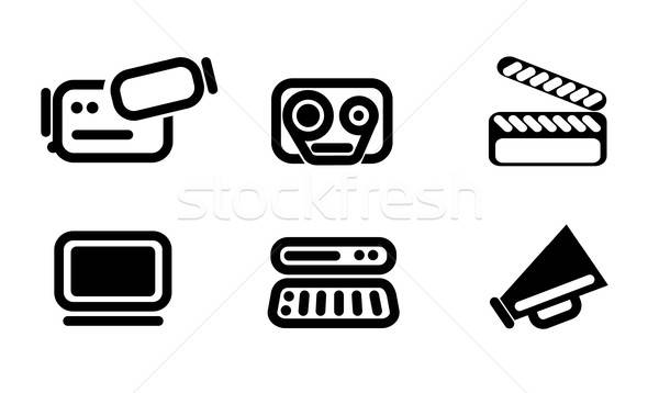 Video editor and converter icons set Stock photo © ayaxmr