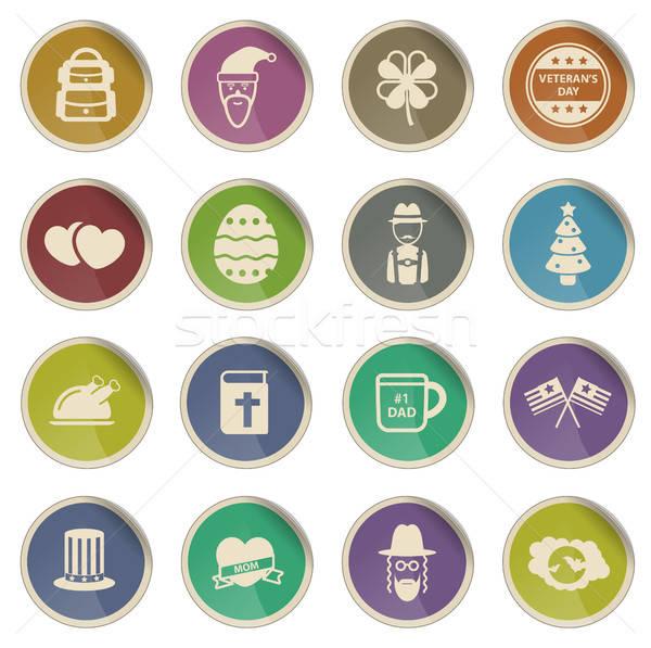 ünnepek egyszerűen ikonok címke háló felhasználó Stock fotó © ayaxmr