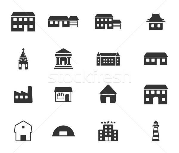 épületek ikon szett fekete sziluett egyszerűen ikonok Stock fotó © ayaxmr