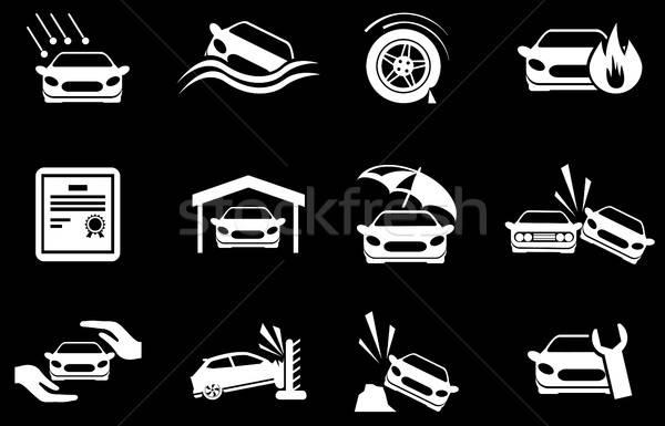 Auto verzekering iconen eenvoudig symbool web icons Stockfoto © ayaxmr
