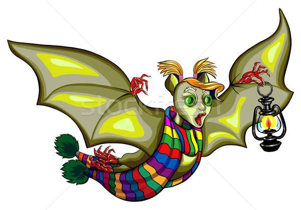 Illustration of Cute Cartoon Halloween bat flying Stock photo © ayaxmr