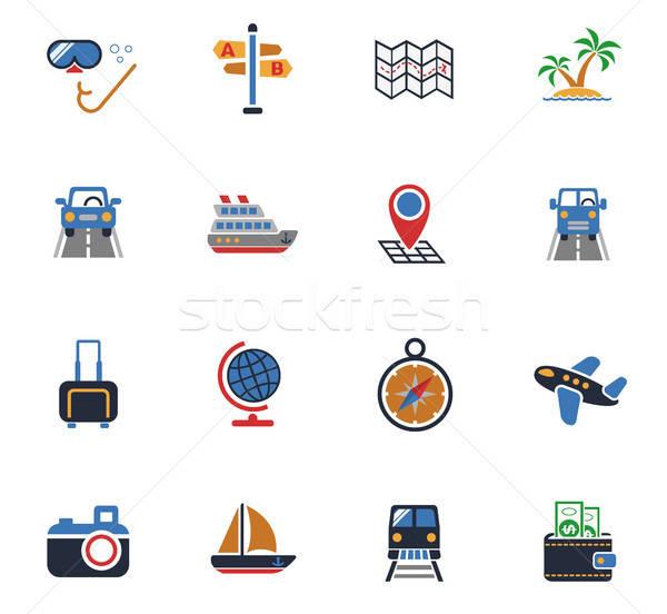 Viajar os ícones do web usuário interface projeto Foto stock © ayaxmr