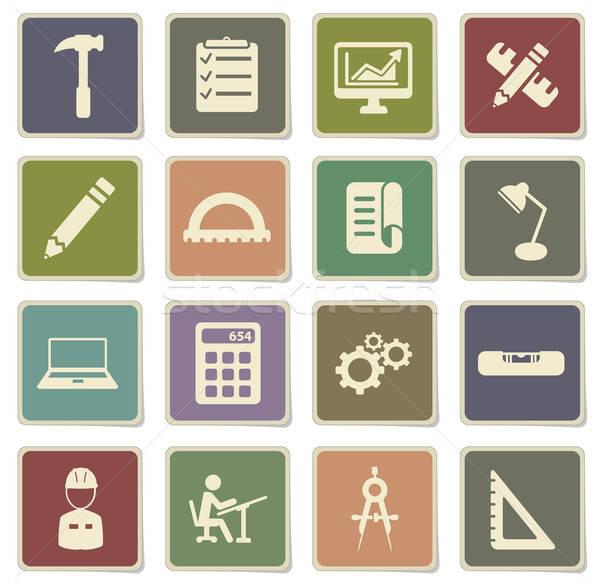 Engineering eenvoudig iconen vector web gebruiker Stockfoto © ayaxmr