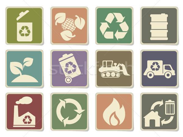 Recycle icons set Stock photo © ayaxmr