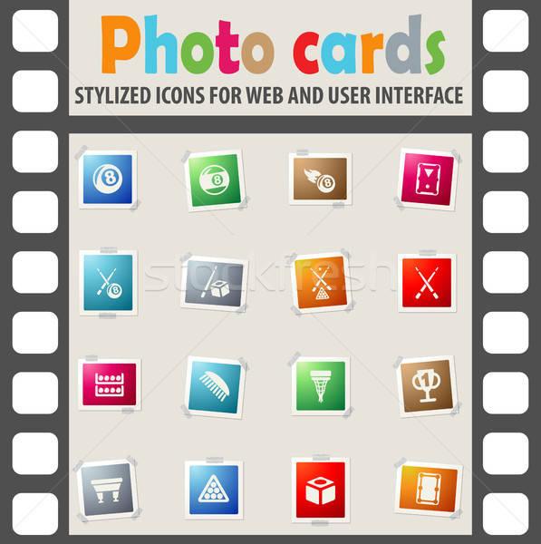 Biliárd ikon gyűjtemény webes ikonok felhasználó interfész terv Stock fotó © ayaxmr