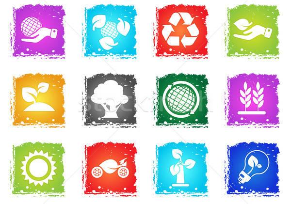 Ekologia recyklingu ikona symbolika wektora Zdjęcia stock © ayaxmr