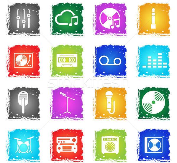 Música simplemente iconos símbolos grunge estilo Foto stock © ayaxmr