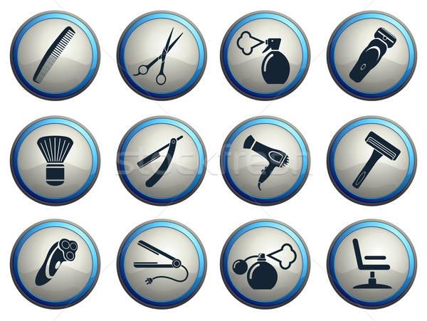 Barbershop icons set Stock photo © ayaxmr