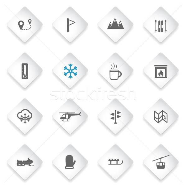 Skiing simply icons Stock photo © ayaxmr