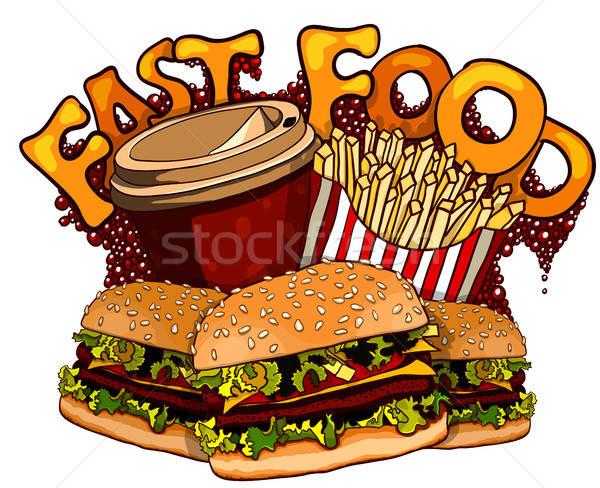 De comida rápida elementos diseno grupo productos arte Foto stock © ayaxmr