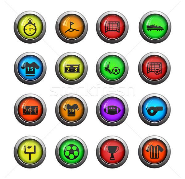 Voetbal eenvoudig iconen web gebruiker Stockfoto © ayaxmr