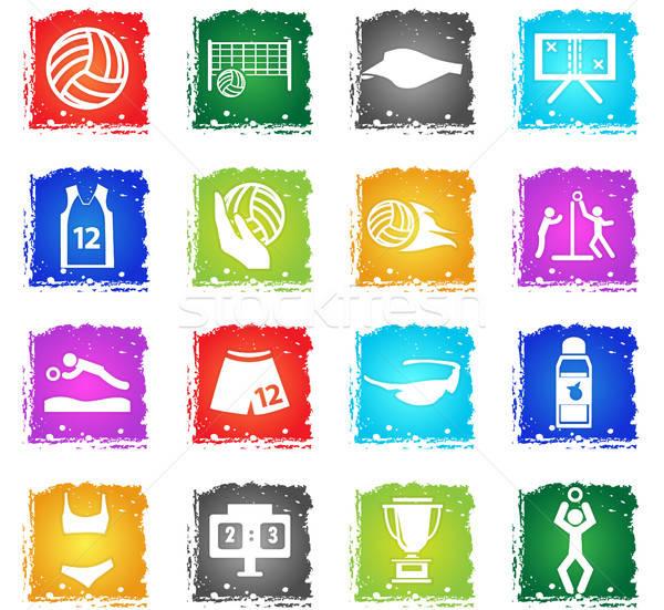 Volleybal vector web icons grunge stijl Stockfoto © ayaxmr