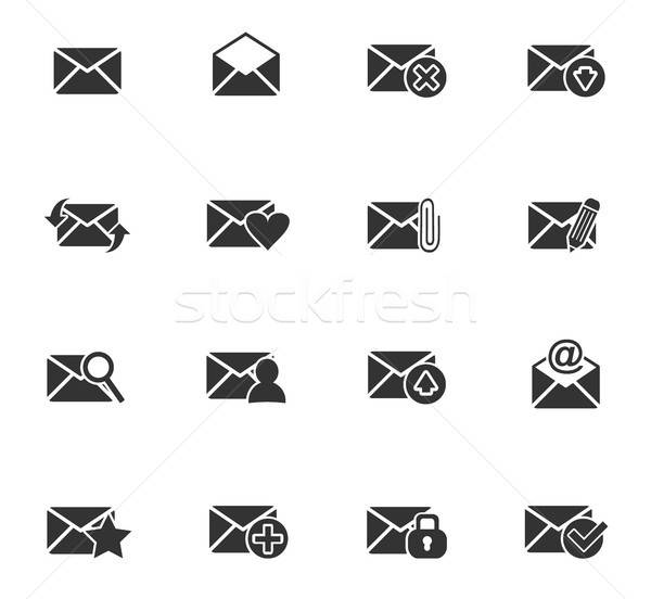 mail and envelope icon set Stock photo © ayaxmr
