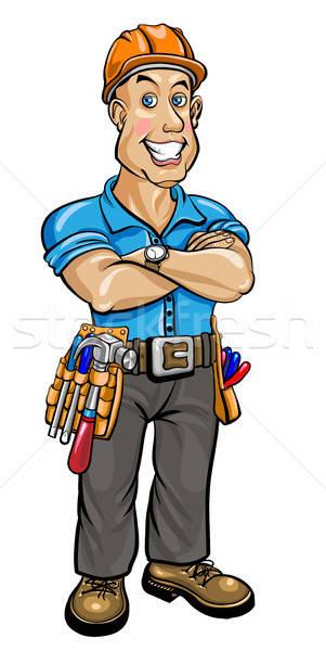 Przyjazny budowniczy kask pasa narzędzia szczęśliwy Zdjęcia stock © ayaxmr