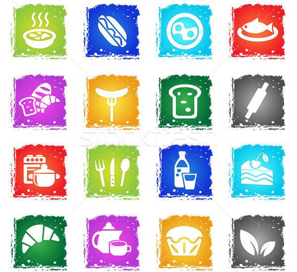 Comida cozinha os ícones do web grunge estilo Foto stock © ayaxmr