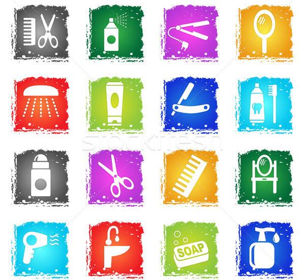 Pessoal cuidar os ícones do web grunge estilo Foto stock © ayaxmr
