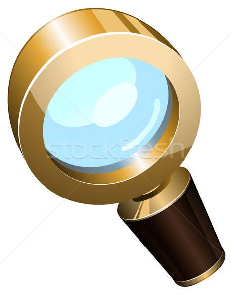 Realistisch vector gouden vergrootglas geïsoleerd witte Stockfoto © ayaxmr