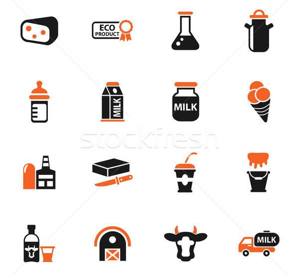 milk icon set Stock photo © ayaxmr