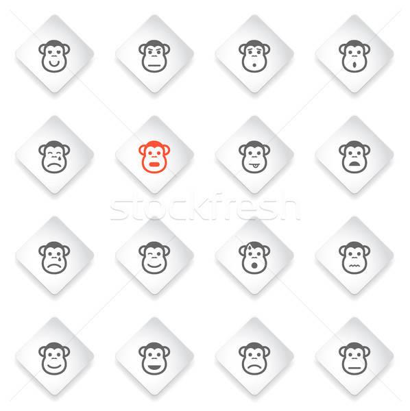 обезьяны просто иконки символ веб-иконы Сток-фото © ayaxmr