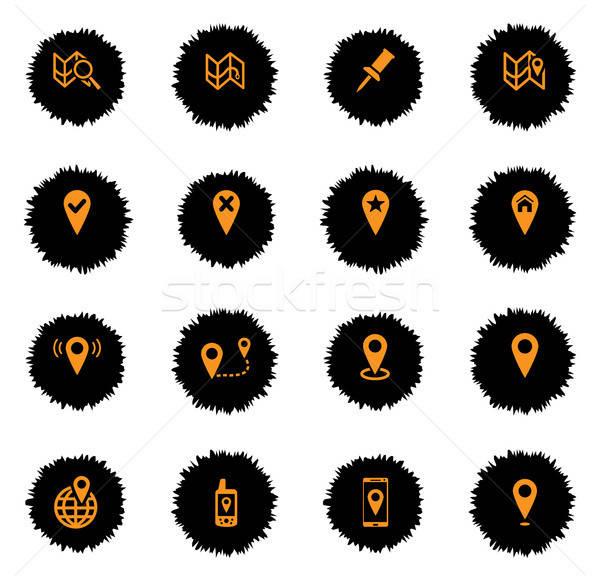 Stock fotó: Térképek · egyszerűen · ikonok · vektor · háló · felhasználó