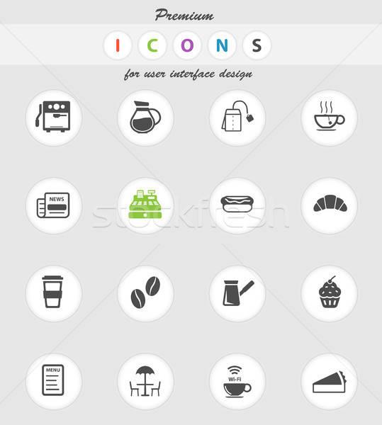 Cafe eenvoudig iconen vector web gebruiker Stockfoto © ayaxmr